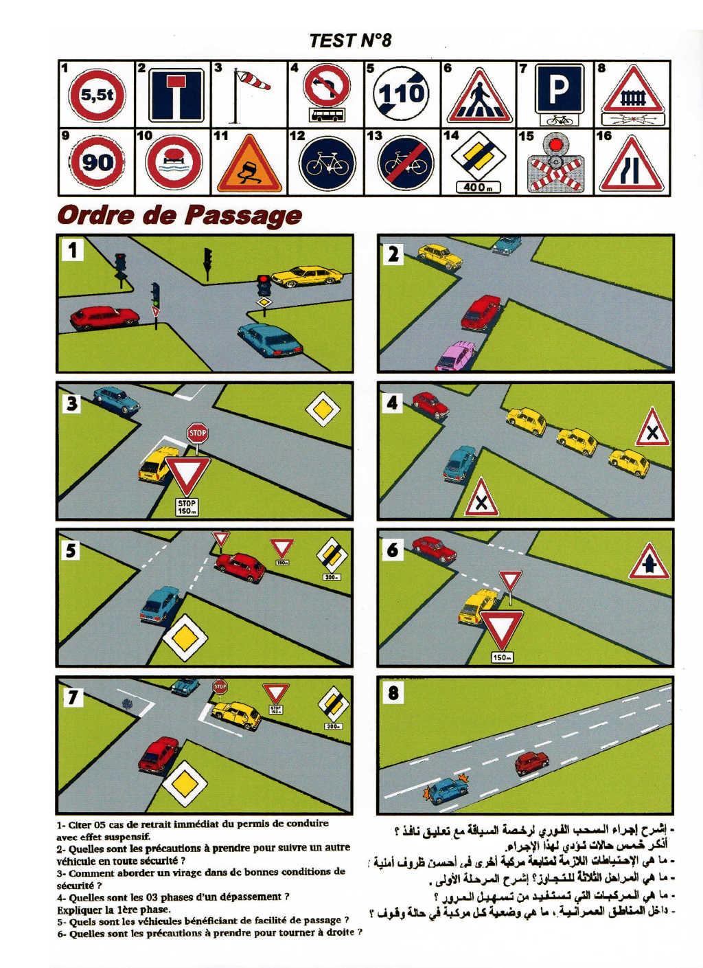 علامات المرور امتحان الاشارات